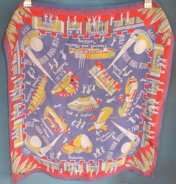 scarf 1939 World's Fair rayon as is vintage condition from Diz Has Neat Stuff