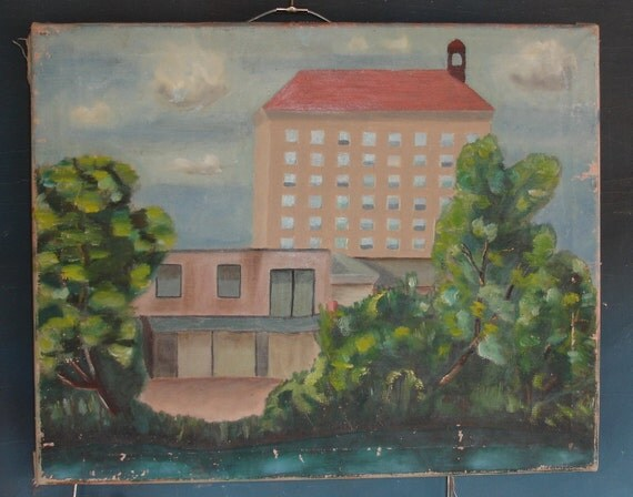 vintage painting unsigned on canvas architectural apartment building from Diz Has Neat stuff
