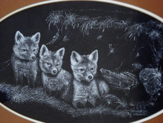 Vintage Original 71' Mel Dobson Scratchboard Print - Baby Foxes
