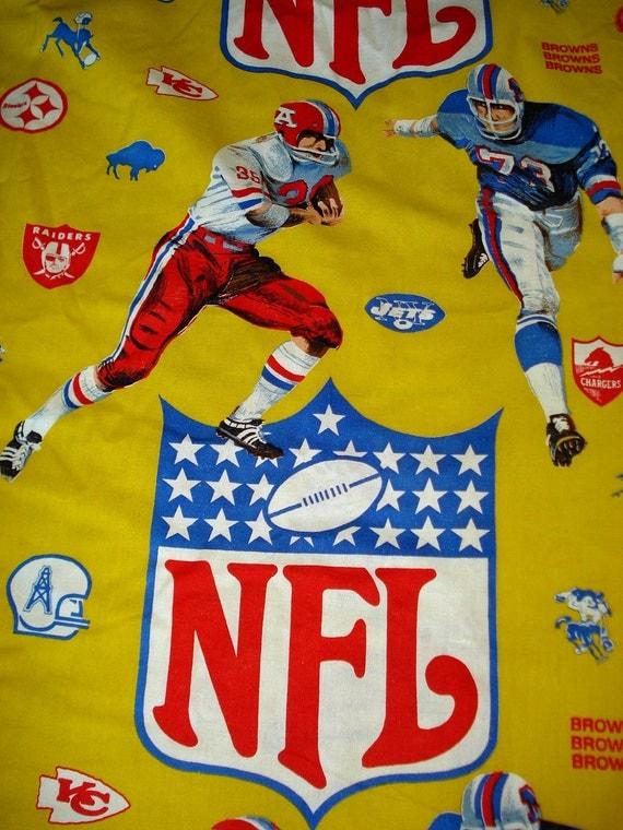 "1960s 1970s NFL Football Bedspread Fabric 108"" x 76"""