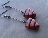 Long dangle red and gold striped triangle arrow earrings
