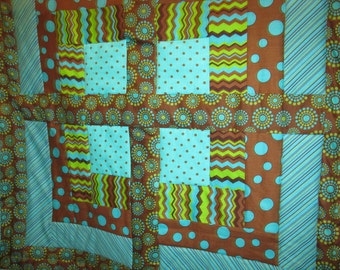 "41 1/2 inch ""Electrifying"" colorful Baby, Lap or Wall Quilt"
