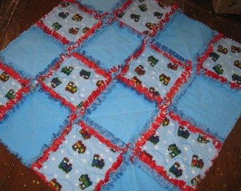 Flannel and minky train Rag quilt security blanket