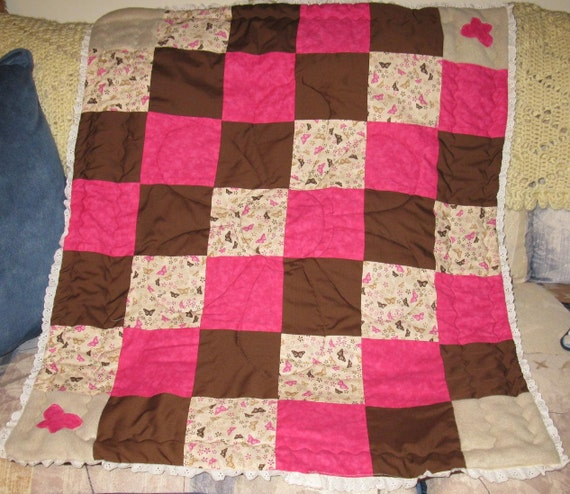 sale - Pink and brown Butterflies, flowers and lace Baby Girl quilt blanket