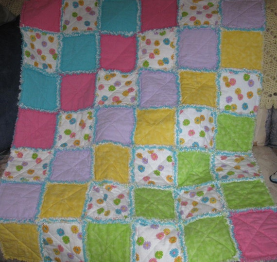 SALE - Clearance - Colorful Flowered Warm Flannel Girls Rag Quilt