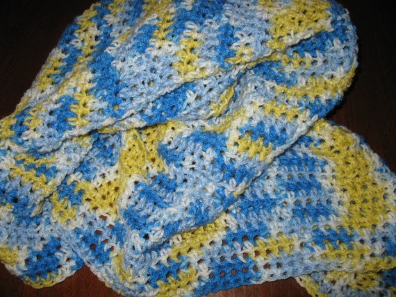 Blue, white and yellow Crocheted baby afghan / blanket