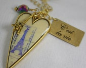 Steampunk Golden Heart Vintage Styled Effel Tower Pendant with Charms and Swarovski Crystal  Reduced from 23.00 to 18.00