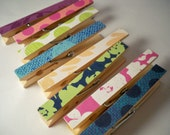 Clothespins. Set of 8 BRIGHT. Memo Clips. Pegs. Pins. Homework. Home Office. Kitchen. Chip Clip. Gift Wrapping.