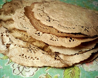 10 Paper Doilies. Anthropologie Wedding. Vintage Wedding. Rustic. French Lace Doily. Stained. Boho Bohemian. Country Barn Wedding. Doilies.
