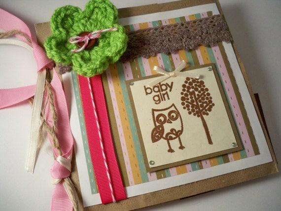 BABY GIRL SCRAPBOOK Owl Woodland. Pre Made. Paper Bag Mini Album. Baby Book. Brag Book. Photo Album. 6x6 Personalized.