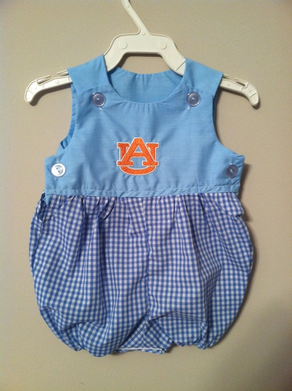 Handmade Baby esie Blue with Auburn Logo Size 13 18lbs