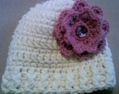 Crocheted Beanie Cap Hat made with Crocheted Flower for Toddler baby or doll