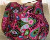 Bright Pink Paisley Floral Corduroy Hobo Bag