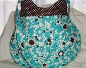 Beautiful Turquoise and Chocolate Floral and Polka Dot Bag