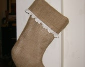 Burlap Stocking with White Muslin Ruffle Fully Lined
