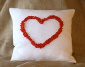 "2 White Linen Pillow Covers with Ruffled Open Heart in Red Ruffle 16"" X 16"""