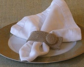 Burlap Napkin Rings Set of 6 with Covered Burlap Buttons Plain no Initial This Listing