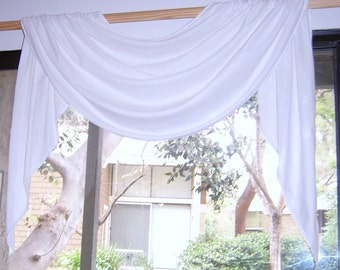 White Bleached Muslin Adjustable Rod Pocket Swag and Jabot Valance 30 to 42 inches