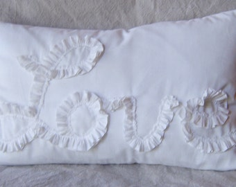 "White Muslin ""Love"" in Ruffle 18"" X 12"" Lumbar Pillow Cover"
