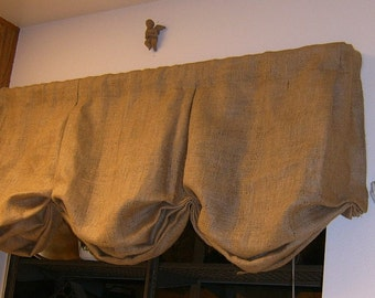 "Lined-Burlap Box Pleat Balloon Valance with Rod Pocket 110"" to 135"""