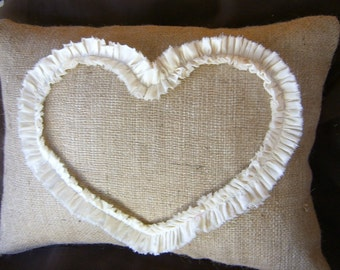 Burlap Lumbar Pillow Cover with Ruffled Open Heart in Natural or White Muslin 18 X 12 or 18 X 18 inches