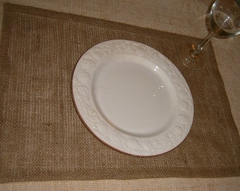 Burlap Placemats, set of 18, Lined w/ Natural Muslin