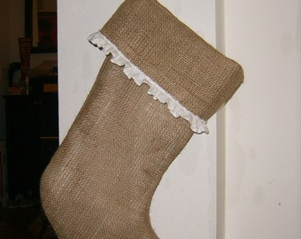 1-Burlap Stocking with White Muslin Ruffle and 1-Plain Burlap Stocking- Fully Lined His and Hers Stockings
