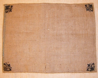 Burlap Placemats with Black Fleur Corners Hand Stenciled, set of 4