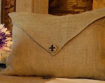"Burlap Envelope Lumbar Pillow Cover with Hand Painted Fluer de Lis or Initial Button 18"" X 12"""