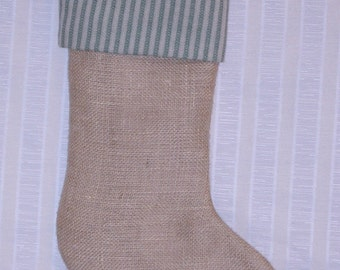 Burlap Stocking with Green Stripe Cuff and Brown Muslin Lining, Fully Lined