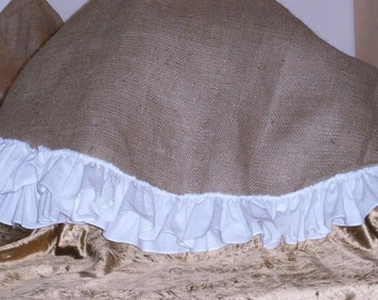 Burlap Christmas Tree Skirt-Lined with White Muslin Ruffle  48 inches