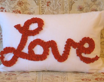 "Love in Pink or Red Ruffle on White Muslin 18"" X 12"" Lumbar Pillow Cover"