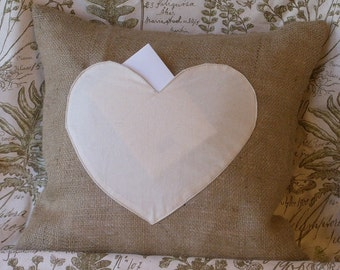 """Be My Valentine Burlap with Muslin Heart Pocket - Lover Letter Pillow Cover 16"""" X 16"""""""