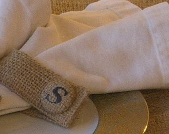 10 Burlap Napkin Rings with Custom W Buttons For Nancy