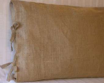 "Labor for King Burlap Pillow Sham with Tie Closure-Your Fabric 36"" X 20"" Lined"