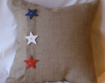 Euro Sham Size Burlap Red, White, Blue Stars Pillow Cover with 3 Handmade Buttons 26 X 26 inch