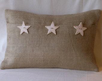 "Burlap Lumbar White Stars Pillow Cover with 3 Handmade Buttons 18"" X 12"""