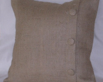 "Burlap Euro Pillow Sham with 3 Buttons  36"" X 36"" Lined"