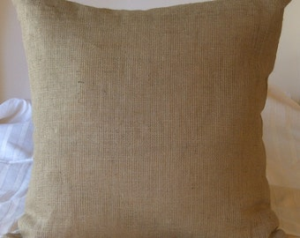 "Burlap Sham Pillow Cover 22"" X 22"" Lined For Even Coverage"