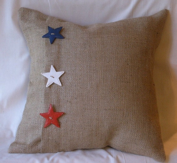 "Burlap Red, White, Blue Stars Pillow Cover with 3 Handmade Buttons 17"" X 17"""