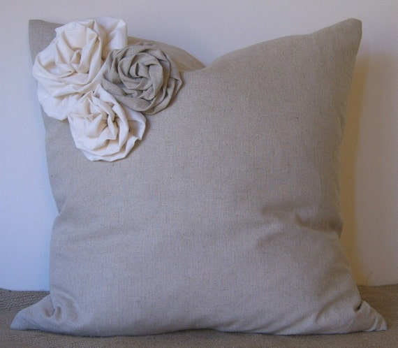 """Linen Pillow Cover with 3 Handmade Rosettes-in Linen or Muslin 18"""" X 18"""""""