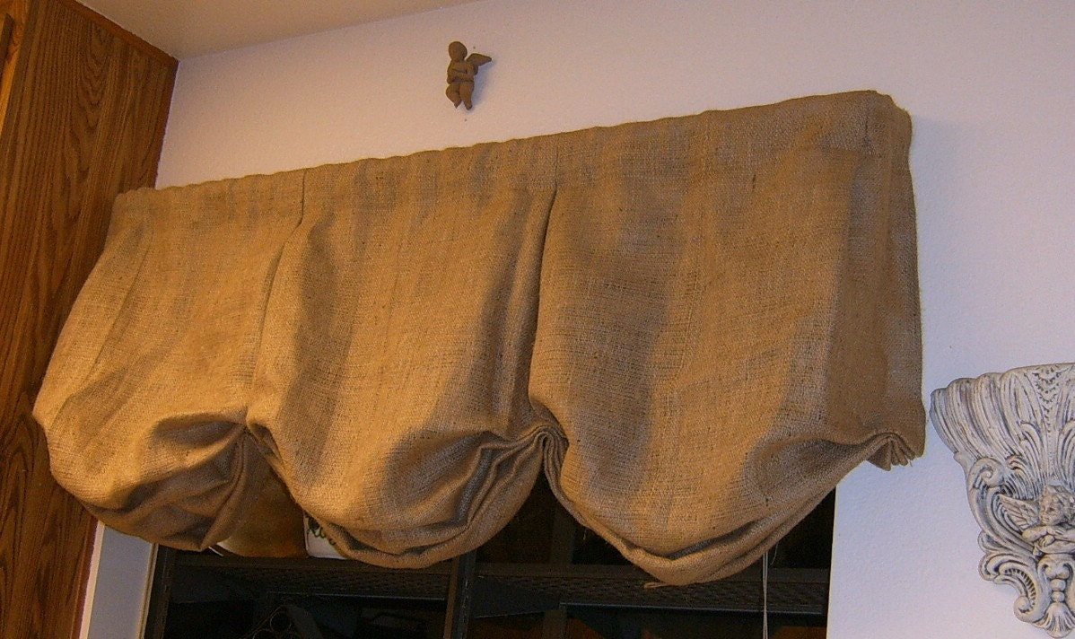 Burlap Valances For Windows : Burlap box pleat balloon valance with rod pocket to