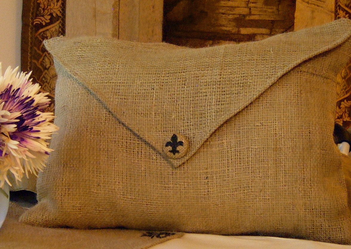 burlap envelope lumbar pillow cover with hand painted fluer de. Black Bedroom Furniture Sets. Home Design Ideas