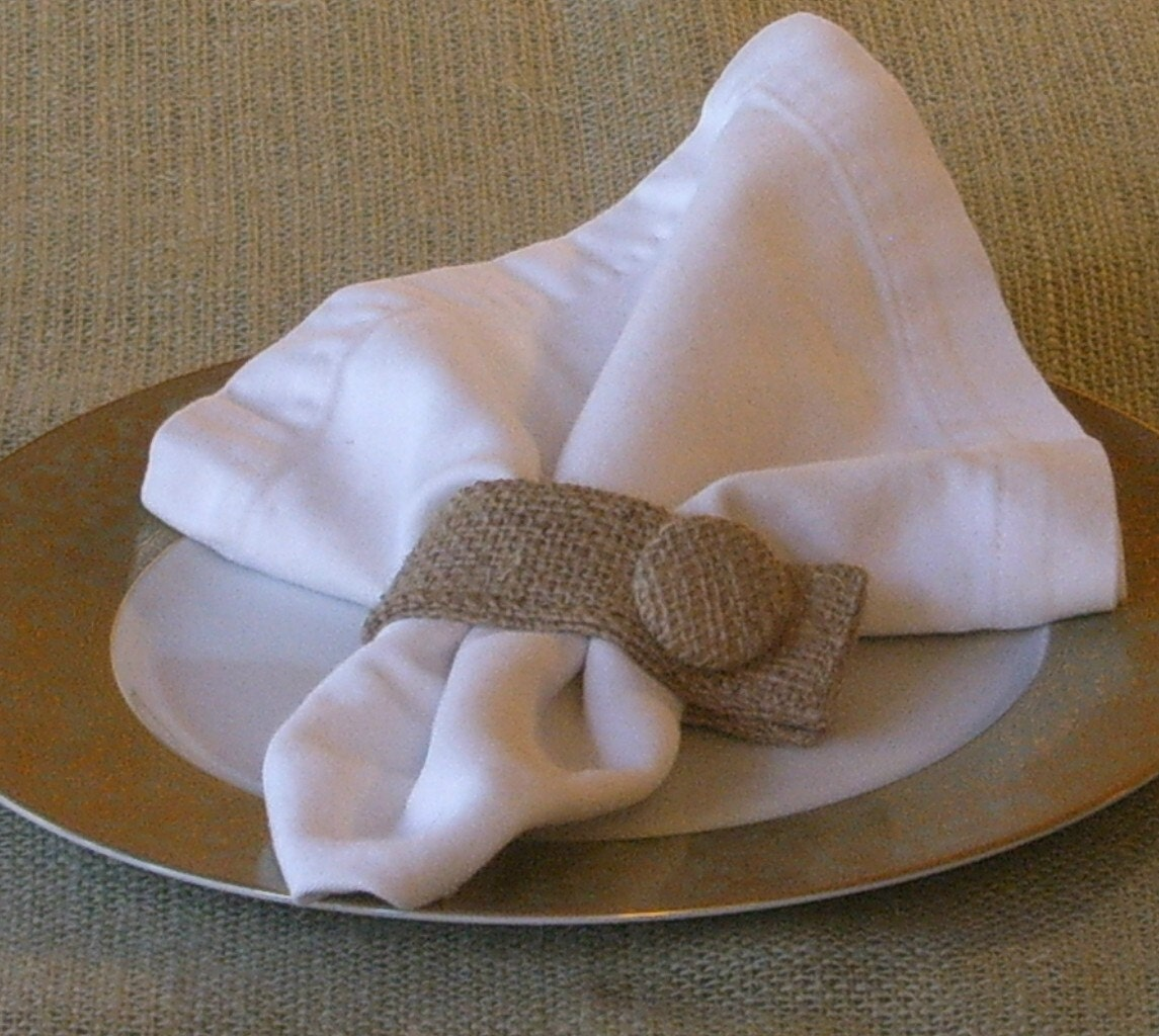 Burlap Napkin Rings Set of 6 with Covered Burlap Buttons Plain