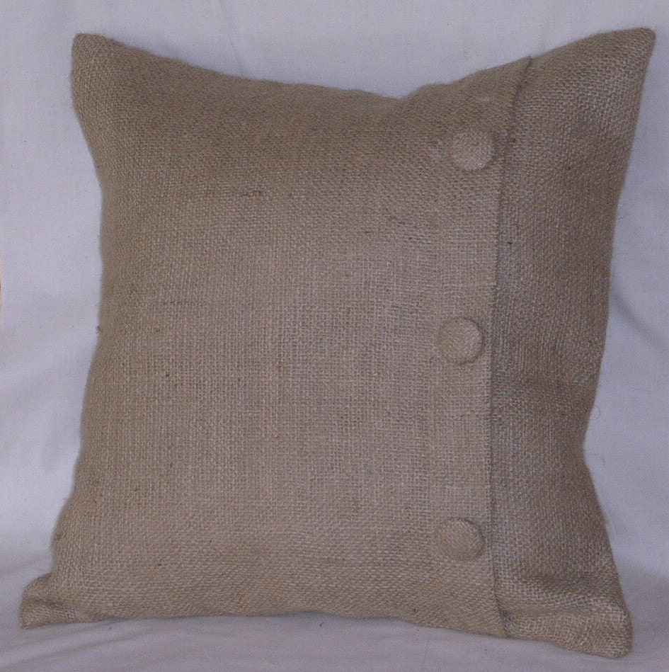 burlap euro pillow sham with 3 buttons 26 x 26. Black Bedroom Furniture Sets. Home Design Ideas