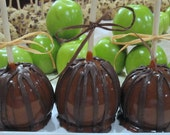 Chocolate Caramel Apples - Double Dipped Caramel and Semi Sweet Chocolate Stripes-3 pack
