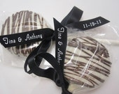 Wedding Favors White Chocolate Oreo Pops Drizzled in Semi Sweet Chocolate with Bride/Groom Names & Wedding Date on Ribbon- 2 Dozen