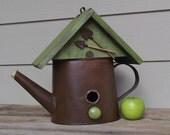 Whimsical Birdhouse, Watering Can Birdhouse, Rustic Birdhouse, Lime Green, Decorative Birdhouse, Outdoor Birdhouse