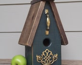 Primitive Birdhouse, Wood Birdhouse, Hunter Green, Recycled Brass Hardware, Decorative Birdhouse, Outdoor Birdhouse, Reclaimed Wood
