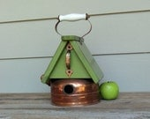 Vintage Copper Tea Kettle Birdhouse, Whimsical Birdhouse, Lime Green, Reclaimed, Recycled, Decorative or Outdoor Birdhouse